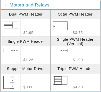 Motors and Relays Shelf